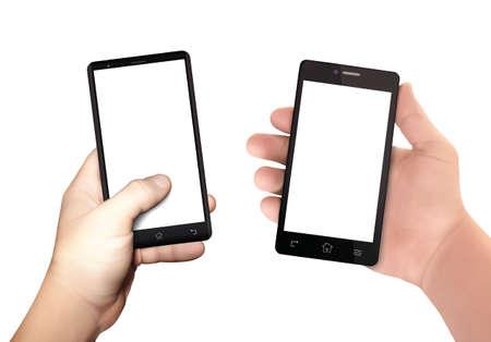 Mains d'homme tenant un smartphone