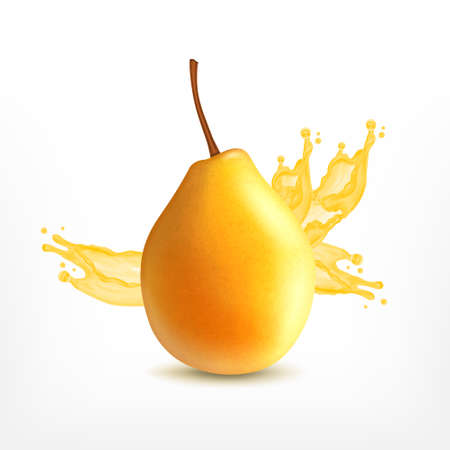 Fresh pear with splashing juice. Vector icon. EPS10