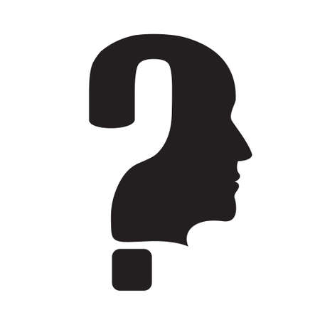 Question mark silhouette with head. EPS10 vector