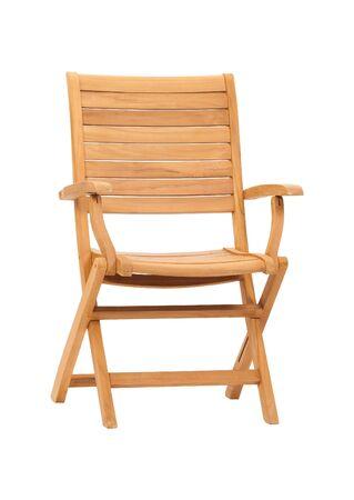 Sedia di legno isolata su fondo bianco
