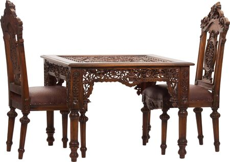 Set of wood table and chairs on white background for decoration in living room or garden, the table on top with fabric net