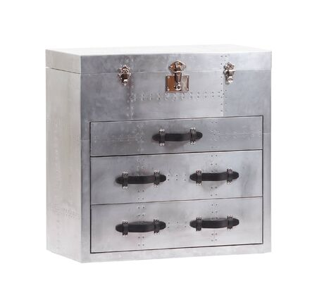 Metal vintage chest of drawers isolated 스톡 콘텐츠