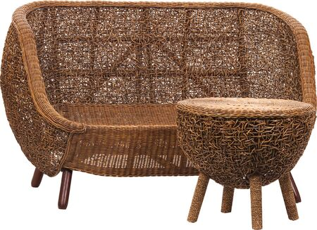 Set of luxury wicker furniture isolated on white background