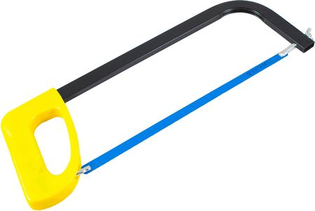 Yellow hacksaw with black handle. Isolated
