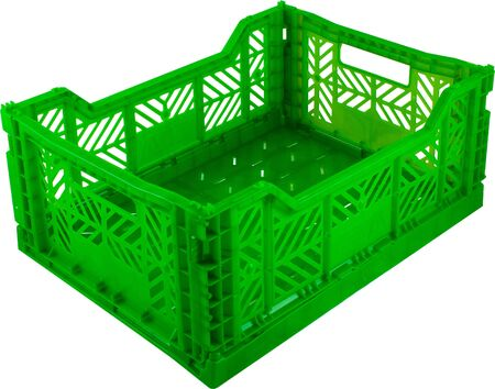 foldable green plastic storage box on a white background.