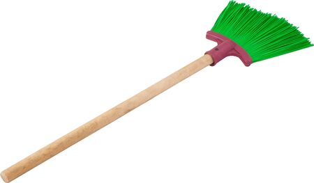 Green plastic broom with long handle isolated on white. Clipping Path included. Фото со стока - 130102898