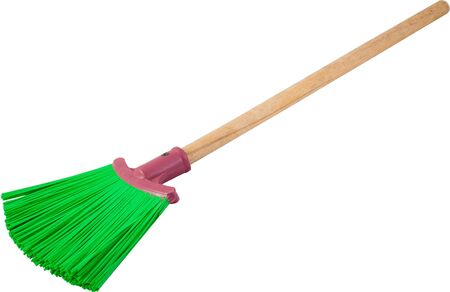 Green plastic broom with long handle isolated on white. Clipping Path included.