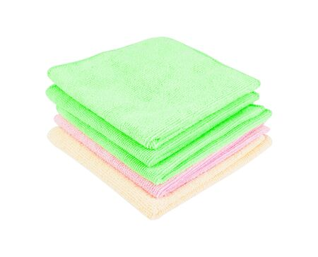 Stack of clean soft towels on white background Stock fotó