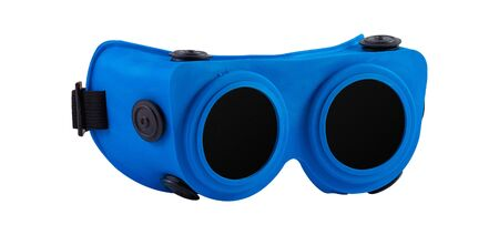 Blue goggles for welding on a white background Stockfoto