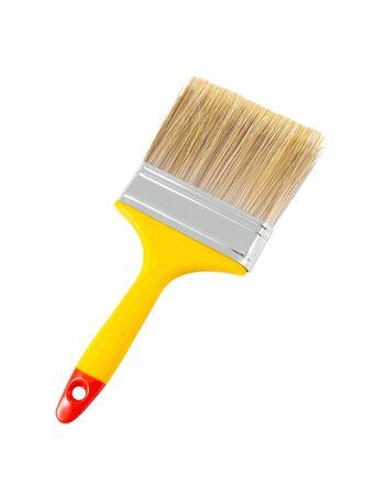 Yellow paint brush isolated