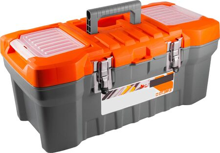 Gray and orange toolbox isolated