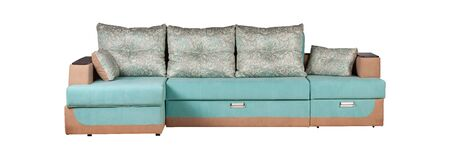 Modern turquoise and brown sofa isolated Stockfoto - 130560346