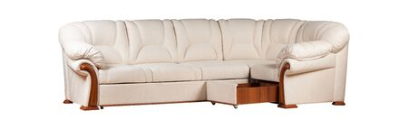 Modern stylish sofa from beige leather isolated over white
