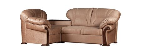 Light brown genuine leather sofa isolated