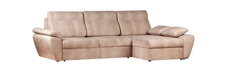 Three seats cozy beige fabric sofa isolated on white background