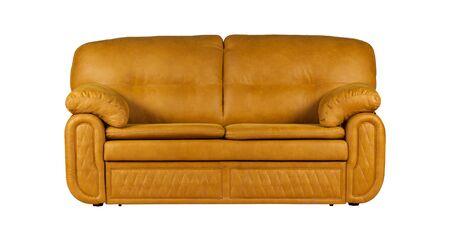 Orange two-seat leather sofa isolated on white background Stockfoto - 130560376