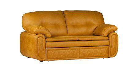Orange two-seat leather sofa isolated on white background Stockfoto - 130560378