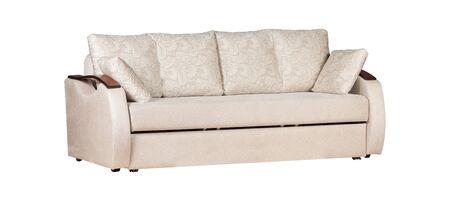 Biała sofa z poduszkami na białym tle