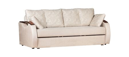 White sofa with cushions isolated