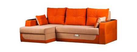 Modern orange sofa over white background Stockfoto - 130560291
