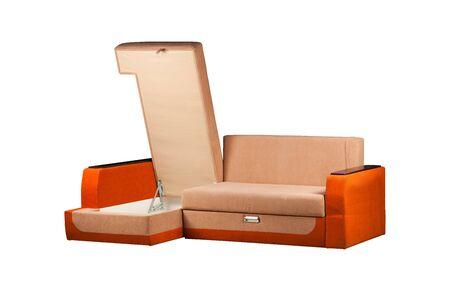 Modern orange sofa over white background Stockfoto - 130560294