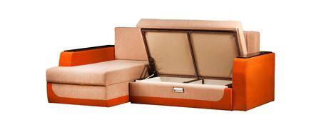 Modern orange sofa over white background Stockfoto - 130560299