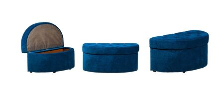 Blue Soft stool three images isolated