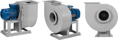 Industrieller Luftgebläse-Turbinenventilator für Belüftung und Klimatisierung lokalisiert auf weißem Hintergrund. Standard-Bild