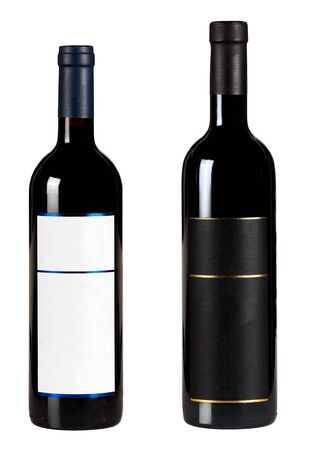 Set of two bottles with blank. labels of red wine isolated on white background. Banque d'images