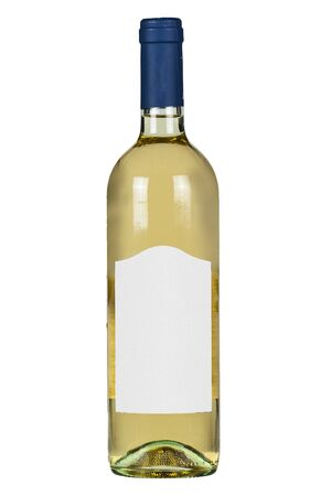 White wine bottle with blank lable isolated on white background.