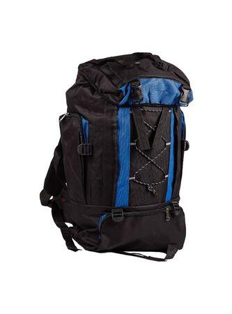 Blauwe en zwarte camping rugzak geïsoleerd op een witte achtergrond.