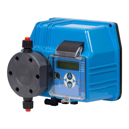 Blue industrial water pump with controller isolated on white background