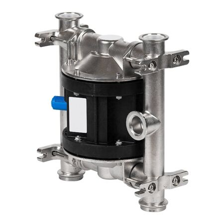 Metal industrial air driven double diaphragm pneumatic pump isolated on wite Imagens