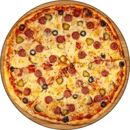 Pizza with sausages, pickles and olives top view on wooden board