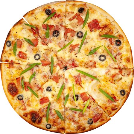 Pizza with bacon, cheese and olives top view