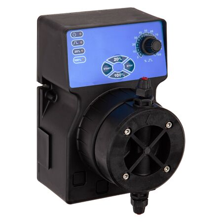 AC black plastic diaphragm pump isolated on white background