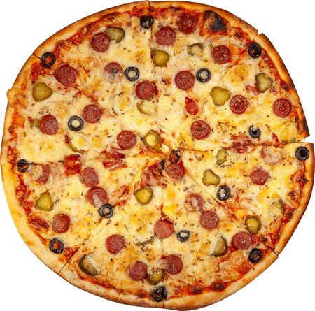 Pizza with sausages, pickles and olives top view