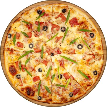 Pizza with bacon, cheese and olives top view on wooden board 版權商用圖片