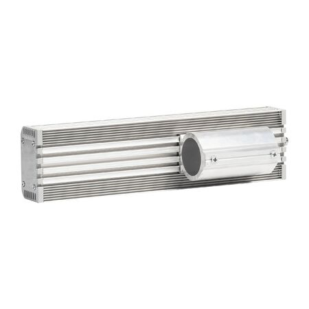 Industrial LED lighting bar in metal housing for mounting on pipe isolated on white background
