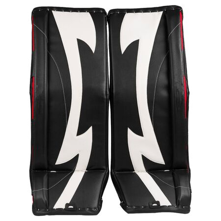 Black and white ice hockey goalie leg pads isolated on white background