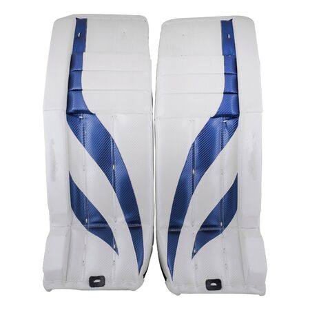 White and blue ice hockey goalie protective leg pads isolated on white background