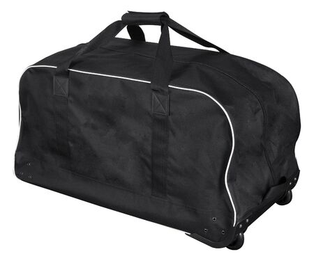 Big black bag for sports equipment with two handles isolated on white background