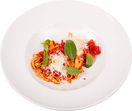 Pasta in Tomato Sauce with Cheese on white plate isolated