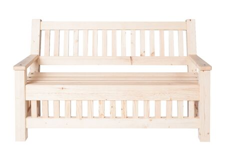 Simple wooden garden bench isolated on white background Stock Photo