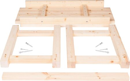 Wooden table parts disassembled on white background