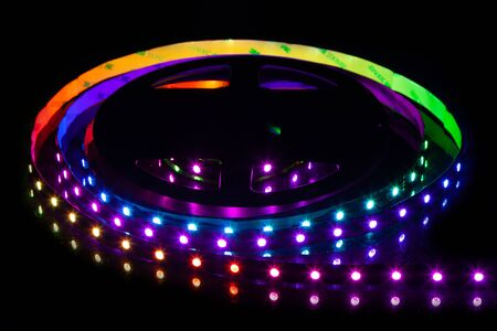 RGB LED strip on reel with black background