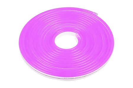 Flexible purple led tape neon flex in roll isolated on white background Stock Photo
