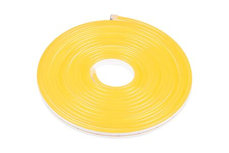 Flexible yellow led tape neon flex in roll isolated on white background Stock Photo