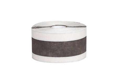 Wrapping waterproofingtape constructiont tape in roll isolated on white background. Stock Photo
