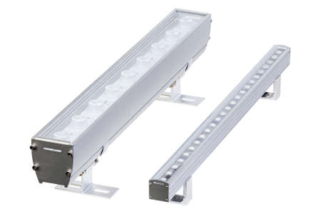 Set of two aluminum LED flood light bars for energy saving idustrial or decorative lightning isolated on white background.